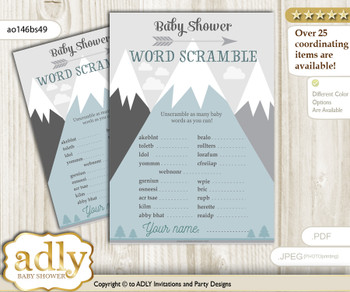 Adventure Mountain Word Scramble Game for Baby Shower n