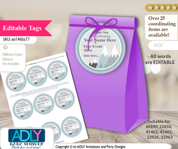 Adventure Mountain Thank You Tags, Circle Favor Tags Personalizable for Shower, Birthday