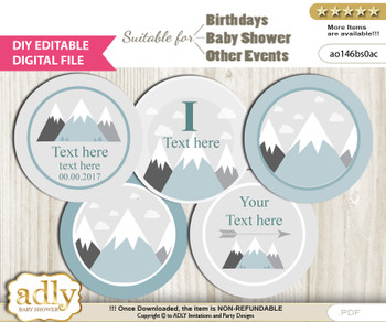 DIY Text Editable Adventure Mountain Cupcake Toppers Digital File, print at home, suitable for birthday, baby shower, baptism  n