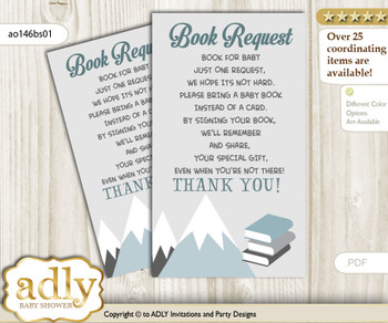 Request a Book Instead of a Card for Adventure Mountain Baby Shower or Birthday, Printable Book DIY Tickets, Boy, Gray White n