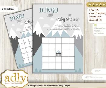 Printable Gray White Mountain Bingo Game Printable Card for Baby Adventure Shower DIY grey, Gray White, Boy