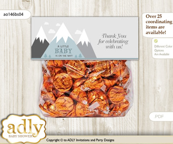 Printable Adventure Mountain Treat or Goodie bag Toppers for Baby Adventure Shower or Birthday DIY Gray White, Boy