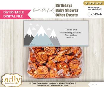 DIY Text Editable Adventure Mountain Goodie  Treat Bag Toppers, Favor Bag Digital File, print at home  n