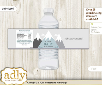 Adventure Mountain Water Bottle Wrappers, Labels for a Mountain  Baby Shower, Gray White, Boy
