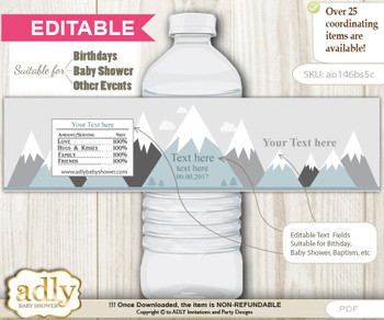 DIY Text Editable Adventure Mountain Water Bottle Label, Personalizable Wrapper Digital File, print at home for any event   n