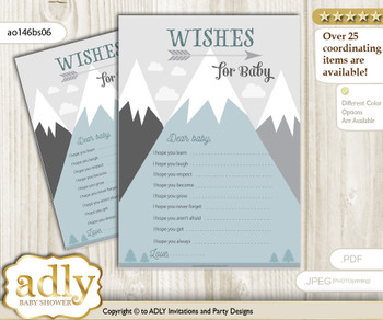Adventure Mountain Wishes for a Baby, Well Wishes for a Little Mountain Printable Card, Boy, Gray White