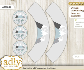 Printable Adventure Mountain Cupcake, Muffins Wrappers plus Thank You tags for Baby Shower Gray White, Boy