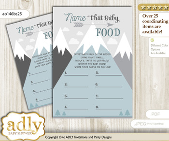 Adventure Mountain Guess Baby Food Game or Name That Baby Food Game for a Baby Shower, Gray White Boy
