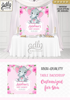 Pink gray Elephant Backdrop, baby shower candy Table Backdrop, Digital Backdrop, Birthday Party, Pink Gray Elephant, Flowers, Floral 4x4 and 4wx6h