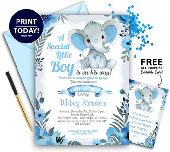 Peanut Blue Gray Elephant Baby Shower Invitation  -Printable Unisex, Neutral- Mommy to Be Invite-FREE Diaper Raffle,gender reveal