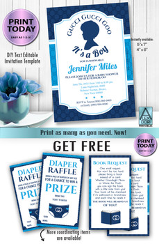 Gucci Boy Royal blue ,navy blue and baby blue invitation + free diaper raffle Classy and Fabulous gucci inspired baby shower invitation invitation for boys