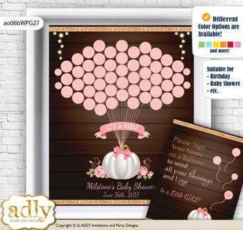 Pumpkin Girl Guest Book Alternative for a Baby Shower, Creative Nursery Wall Art Gift, Pink Gold, Fall