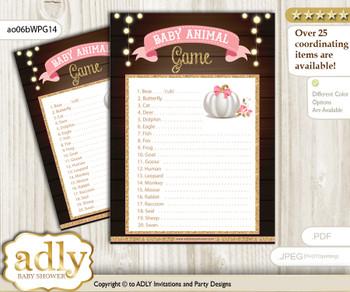 Printable Pumpkin Girl Baby Animal Game, Guess Names of Baby Animals Printable for Baby Girl Shower, Pink Gold, Fall