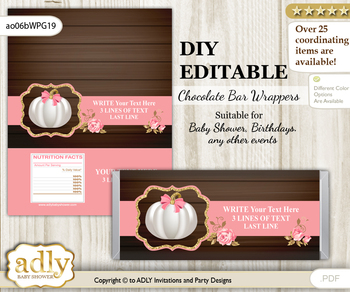 DIY Personalizable Pumpkin Girl Chocolate Bar Candy Wrapper Label for Pumpkin  baby shower, birthday Pink Gold , editable wrappers