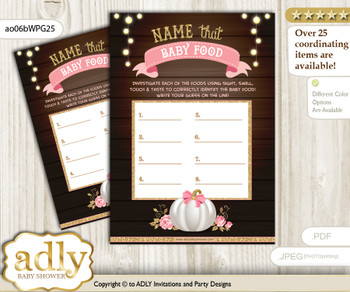 Pumpkin Girl Guess Baby Food Game or Name That Baby Food Game for a Baby Shower, Pink Gold Fall
