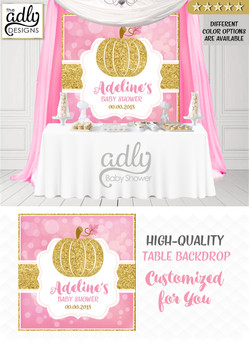 Gold Pink Pumpkin Girl Backdrop Pumpkin backdrop Patch Sign, Little Pumpkin Backdrop, gold floral fall baby shower candy Table Digital Backdrop, Fall Watercolor Birthday Party