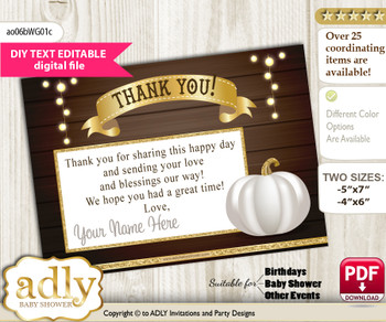 DIY Pumpkin Unisex Thank you Card, Text Editable customizable wording, for Baby Shower or Birthday Party