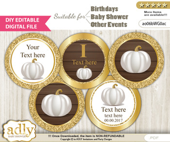 DIY Text Editable Pumpkin Unisex Cupcake Toppers Digital File, print at home, suitable for birthday, baby shower, baptism