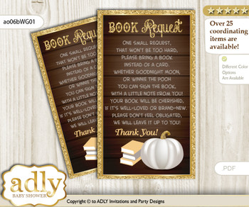 Request a Book Instead of a Card for Pumpkin Unisex Baby Shower or Birthday, Printable Book DIY Tickets, Fall, Rustic Gold