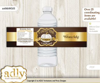 Pumpkin Unisex Water Bottle Wrappers, Labels for a Unisex  Baby Shower, Rustic Gold, Fall