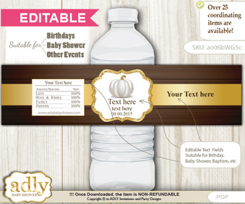 DIY Text Editable Pumpkin Unisex Water Bottle Label, Personalizable Wrapper Digital File, print at home for any event