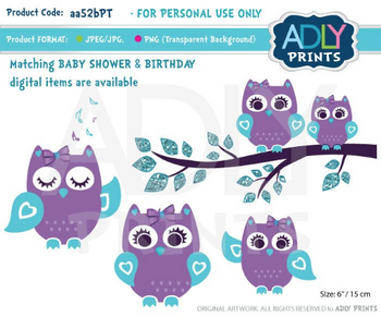 Girl purple teal Owl Clip Art, Mommy and Baby, owls clipart digital images for commercial use