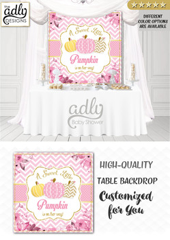 Pink Girl 3 types of Pumpkin Backdrop Pumpkin backdrop Patch Sign, Little Pumpkin Backdrop, gold floral fall baby shower candy Table Digital Backdrop, Fall Watercolor Birthday Party