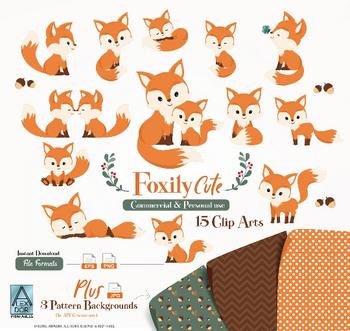 Fur Fox clip art, Cute Little Baby Fox, Mommy, woodland vector clipart png. Gender neutral, fall, seasonal clip art, commercial use,illustration