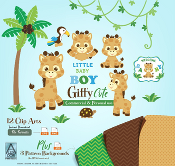 Cute Giraffe clip art, Little Baby Boy, safari vector,png. Palm tree, turtle, toucan, Africa, welcome baby, commercial use,illustration