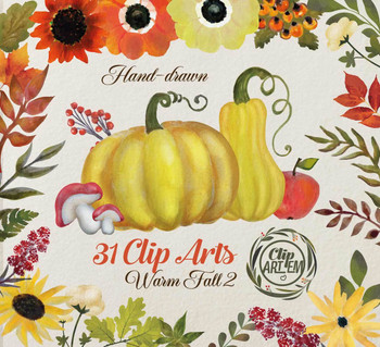 Fall watercolor pumpkin clipart autumn clipart