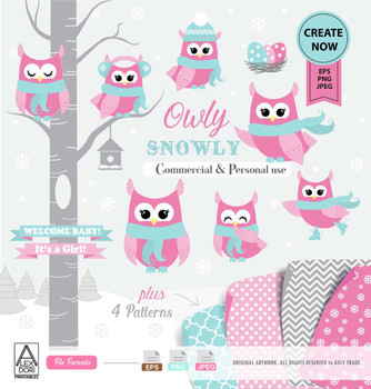 Girl Owl clip art, cute owls winter, pink aqua owl with hat, owl graphics,pink owl clipart,snowflake vector illustration,tree with owls, comm use