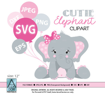 Elephant girl pink SVG, vector clip art, baby girl elephant for baby shower, birthday, diaper cake. Pink Gray peanut with polka ears, comm use