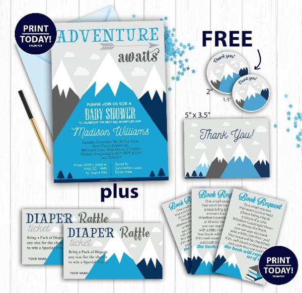 Blue Mountain baby shower, Adventure awaits, hunter boy baby shower, Navy Blue gray Invitation Template, thank you card, FREE Diaper Raffle,book