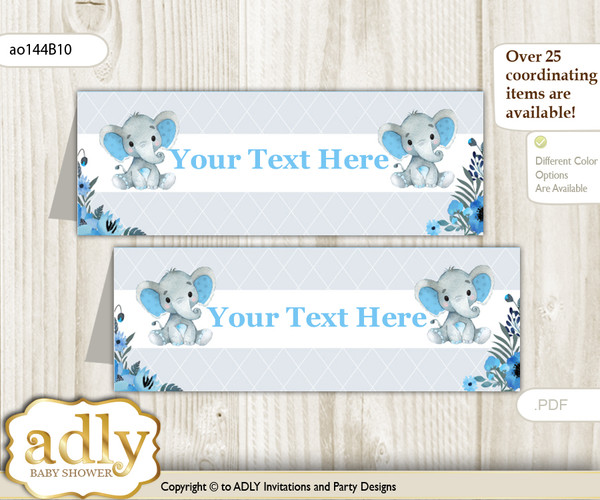 DIY Text Editable Printable Elephant Boy Buffet Tags or Food Tent Labels  for a Baby Shower or Birthday , Blue Gray, Floral nn