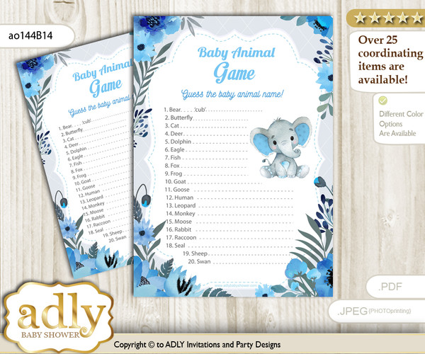 Printable Elephant Boy Baby Animal Game, Guess Names of Baby Animals Printable for Baby Boy Shower, Blue Gray, Floral