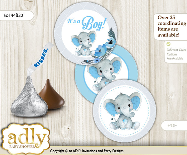 Printable  Elephant Boy Candy Kisses for Baby Elephant Shower DIY Blue Gray , Floral