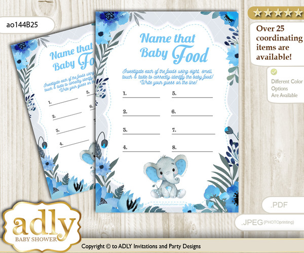 Elephant Boy Guess Baby Food Game or Name That Baby Food Game for a Baby Shower, Blue Gray Floral