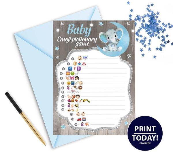 Peanut Elephant Emoji Game In Blue & Gray for BABYSHOWER
