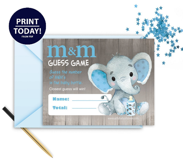 """Peanut Elephant """"M&M""""Game In Blue & Gray for BABYSHOWER"""
