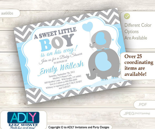 a sweet little boy elephant invitation chevron grey baby blue mommy