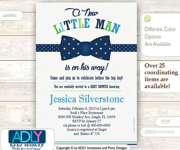 Navy Green Bow Tie Little Man Baby Shower Invitation Navy Blue Lime