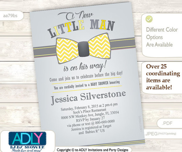 Gray Yellow Bow Tie Little Man Baby Shower Invitation Butter