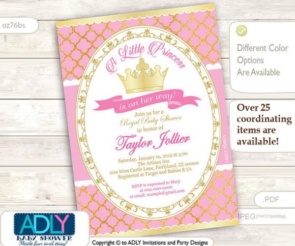 Gold Soft Pink Princess Invitation for Royal Baby Shower, gold foil, golden crown, a Little Princess is on her way
