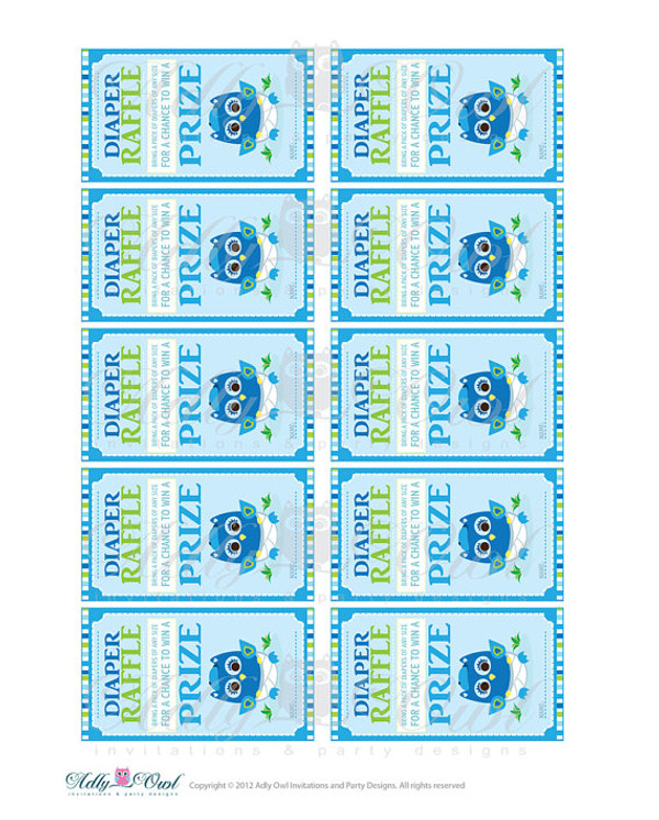blue lime boy owl diaper raffle tickets printables for baby boys
