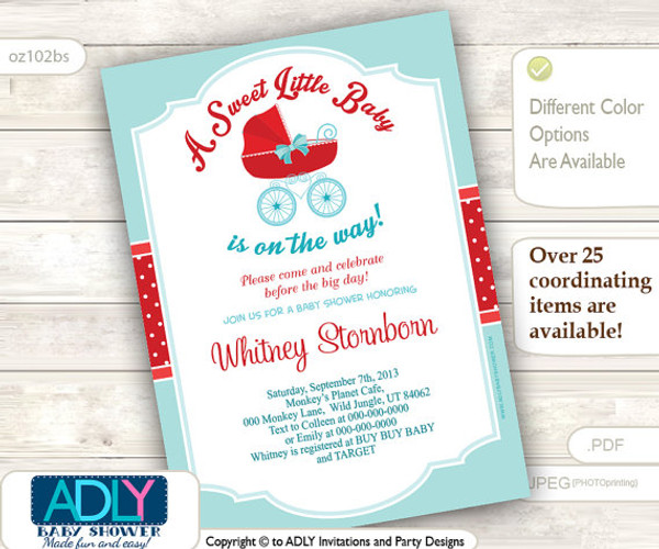 light turquoise red gender neutral baby carriage invitation baby