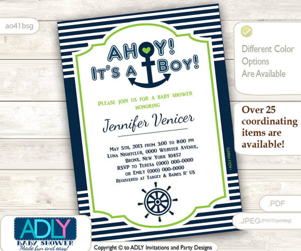Lime Green Navy Nautical Invitation for Baby Shower, Green, anchor, ship wheel, stripes dark blue, white. Ahoy, it's a boy