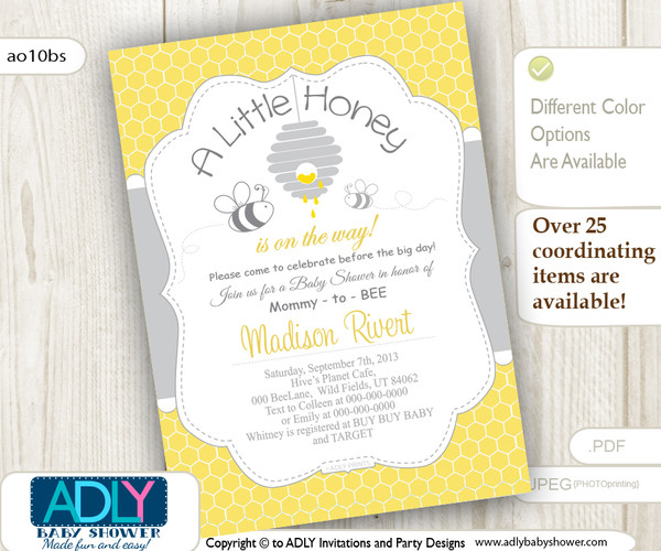 Gender Neutral Baby Bee Invitation in grey and yellow colors, shower invitation for mommy-to-bee