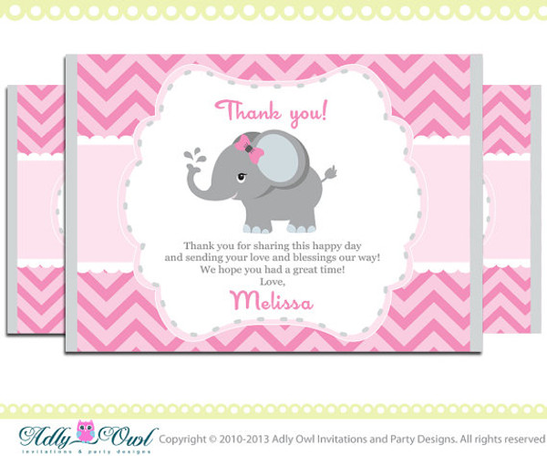 Elephant Thank You Card With Personalization Girl Baby Shower Or Birthday DIY