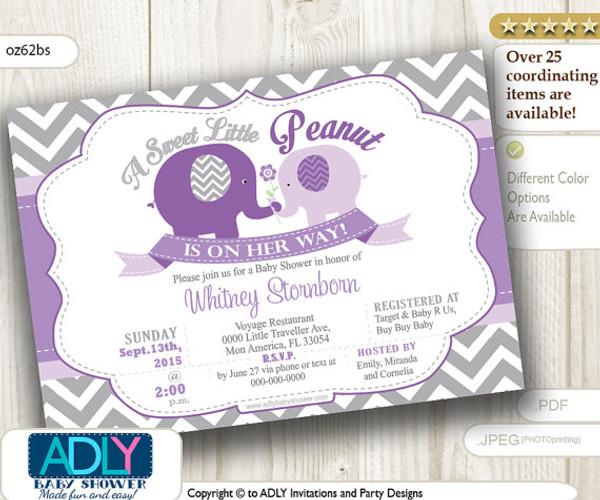 Grey Chevron Purple Baby Elephant Invitation with Mommy Elephant, lavender, gray, little peanut