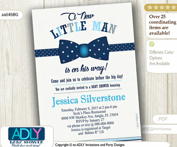 Navy Blue Grey Bow Tie Little Man Baby Shower Invitation Dark Blue